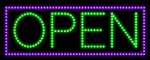 Custom Green Open And Purple Border Led Sign 1
