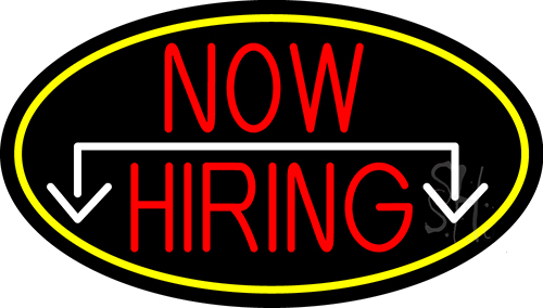 Now Hiring And Arrow Oval With Yellow Border LED Neon Sign