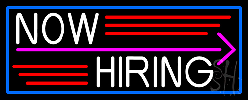 Now Hiring And Arrow With Blue Border LED Neon Sign
