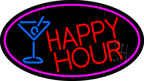 Red Happy Hour And Wine Glass Oval With Pink Border LED Neon Sign