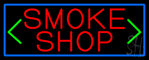 Smoke Shop And Arrow With Blue Border LED Neon Sign