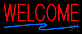 Welcome Neon Sign with Zigzag Line