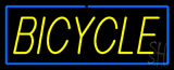 Yellow Bicycle Blue Border Neon Sign