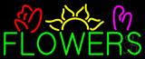 Green Block Flowers Logo Neon Sign