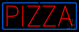 Red Pizza with Blue Border Neon Sign