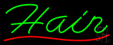 Green Hair Red Wave Line Neon Sign
