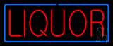 Red Liquor Blue Border Neon Sign