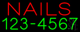 Red Nails with Phone Number Neon Sign
