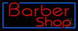 Red Barber Shop with Blue Border Neon Sign