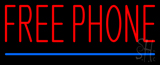 Red Free Phone Blue Line Neon Sign
