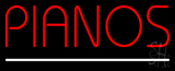 Red Pianos White Border Neon Sign
