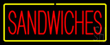 Red Sandwiches with Yellow Border Neon Sign