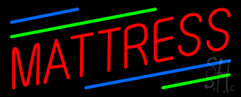 Red Mattress Green Blue Line Neon Sign