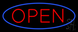 Blue Open with Red Oval Border LED Neon Sign