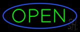 Green Open with Blue Oval Border LED Neon Sign