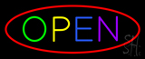 Multi Open with Red Oval Border LED Neon Sign