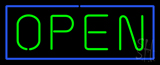 Open - Horizontal Green Letters with Blue Border LED Neon Sign