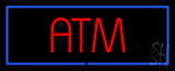 Red ATM Blue Border Neon Sign