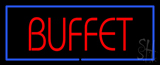 Red Buffet Blue Border LED Neon Sign