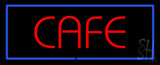 Red Cafe with Blue Border LED Neon Sign