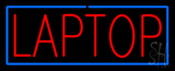 Red Laptop Repair with Blue Border Neon Sign