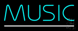 Turquoise Music White Line LED Neon Sign