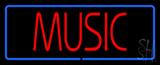 Music Block Blue Border Neon Sign