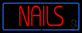 Red Nails Blue Border LED Neon Sign