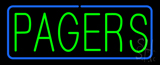 Green Pagers Blue Border LED Neon Sign
