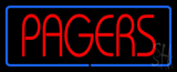 Red Pagers Blue Border LED Neon Sign