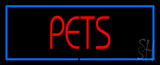 Red Pets Blue Border LED Neon Sign