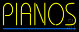 Pianos Blue Border LED Neon Sign