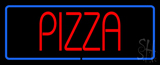Pizza with Blue Border LED Neon Sign