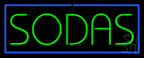 Green Sodas with Blue Border Neon Sign