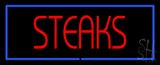 Red Steaks with Blue Border LED Neon Sign