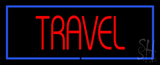 Travel with Border LED Neon Sign