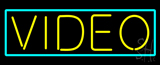 Yellow Video Turquoise Border LED Neon Sign