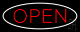 Open Oval White Red LED Neon Sign