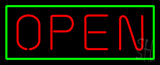 Open - Horizontal Red Letters with Green Border LED Neon Sign