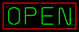 Open - Horizontal Green Letters with Red Border LED Neon Sign