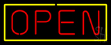 Open - Yellow Border Red Letters LED Neon Sign