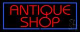 Red Antique Shop Blue Border LED Neon Sign
