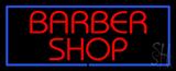 Red Barber Shop Blue LED Neon Sign