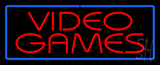 Red Video Games Blue Border Neon Sign