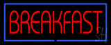 Red Breakfast with Blue Border LED Neon Sign