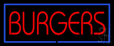Red Burgers with Blue Border LED Neon Sign