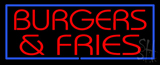 Red Burgers and Fries with Blue Border LED Neon Sign