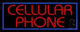 Red Cellular Phone Blue Border LED Neon Sign