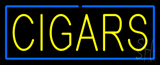 Yellow Cigars with Blue Border Neon Sign