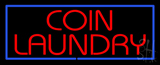 Red Coin Laundry Blue Border LED Neon Sign